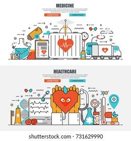Business flat line concept web banner of online medical diagnosis and treatment, ambulance, healthcare mobile app. Conceptual linear vector illustration for web design, marketing, graphic design.