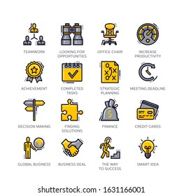 Business Flat Line Icons - Set 1. Set of business icons, great for presentations, web design or any type of design projects.