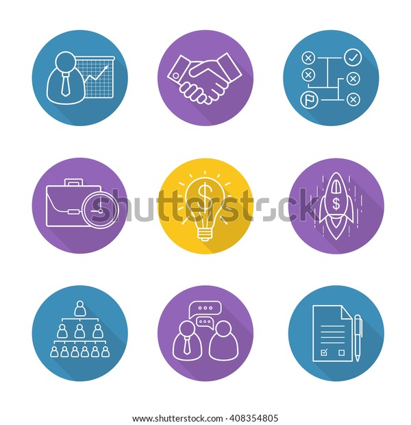 Business Flat Linear Long Shadow Icons Stock Vector