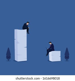 Business flat vector concept man sit above stack of paper metaphor of active and lazy worker. Illustration For Wallpaper, Banner, Background, Infographic, Book, And Web Landing Page.