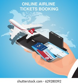 Business flights conception. Airline tickets online. Buying or booking Airline tickets. Travel, business flights worldwide. Online app for tickets order. Internation flights.