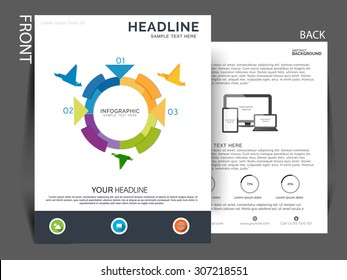 Business flyer, brochure and magazine cover design. vector eps10