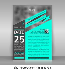 Business flyer. Can be used for corporate poster, article, brochure. Place for picture included. Vector template.