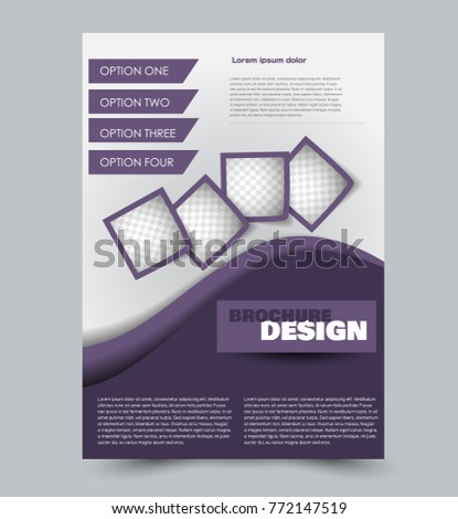 abstract brochure or annual report template purple color vector illustration