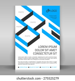 Business flyer design, poster template. Vector layout with blue diagonal elements. Sectors for photos included.