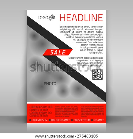 Business flyer design poster template vector stock vector royalty business flyer design poster template vector layout with red and gray diagonal elements wajeb Images