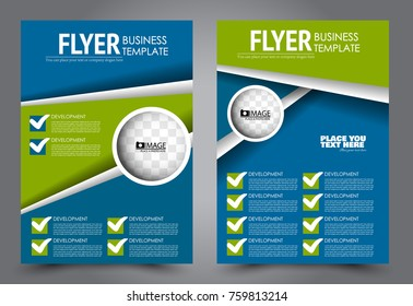 Business flyer design template. Abstract vector background. A4 brochure concept. Blue and green color.
