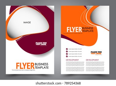 Business flyer design template. Abstract vector background. A4 brochure concept. Red and orange color.