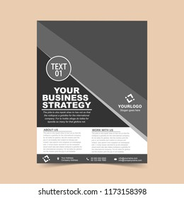 Business flyer Gray template. Vector illustration.