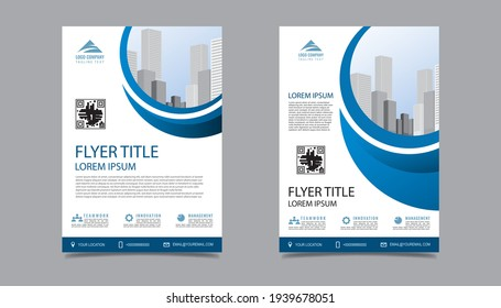 Business flyer layout template in A4  size. Modern Brochure template cover design, annual report, poster with blue wavy lines for business promotion on white background, vector illustration