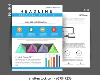 Business flyer , Business single pager with vector design .