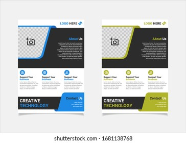 Business flyer template vector design, A4 brochure template blue and lime geometry shapes used for business poster layout, IT Company flyer, corporate banners, and leaflets