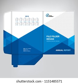 Business folder for files, design. The layout is for posting information about the company, photo, text. Modern geometric style.