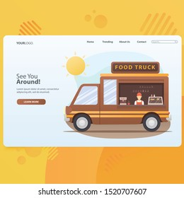 Business Foodtruck Seller With Car Illustration
