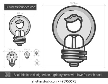 Business founder vector line icon isolated on white background. Business founder line icon for infographic, website or app. Scalable icon designed on a grid system.