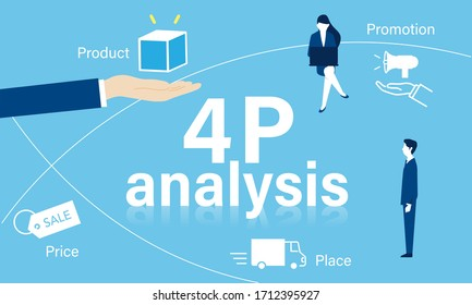 business framework,4P analysis image,vector illustration,blue background