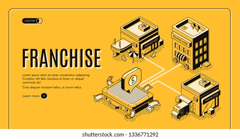 Business franchise isometric vector web banner, landing page. Small enterprise, company, shop or service started with licensed as intellectual property business model or idea line art illustration