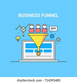 Business funnel, conversion, marketing, digital sales funnel flat line vector with marketing icons isolated on blue background