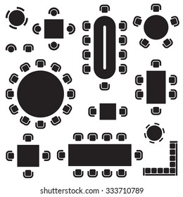 Business furniture symbols used in architecture plans icons set, top view, graphic design elements, black isolated on white background, vector illustration.