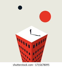 Business future and strategy vector concept. Symbol of success, challenge and also uncertainty. Businessman on top of building. Visionary leader looking for opportunity. Eps10 illustration.