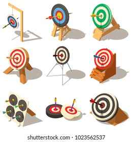 Business game performance icons set. Isometric illustration of 9 business game performance vector icons for web
