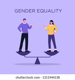 Business gender equality vector concept with businessman and businesswoman standing on weigher or scales on the same height. Symbol of equal pay, salary, fairness and justice and emancipation.