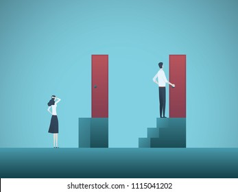 Business gender gap inequality vector concept. Symbol of discrimination in career, salary gap, corporate injustice and unfair practice. Eps10 vector illustration.