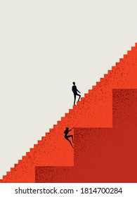 Business gender inequality vector concept with businessman and businesswoman on different stairs. Different career opportunities, obstacles for woman. Eps10 illustration.