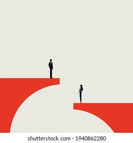 Business gender inequality vector concept. Symbol of pay gap, disrimination, unfair treatment. Minimal eps10 illustration.
