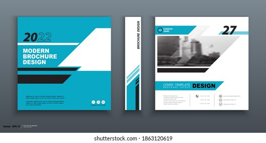 Business geometric cover design, construction. Abstract City. Brochure template.. Title page set. Blue geometric design, figures, square, booklet, layout. Modern, logo, icon. Annual report, title. Ad text, font