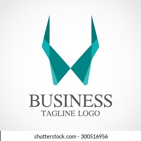 Business geometric horn power abstract vector logo design template professional icon company identity symbol concept