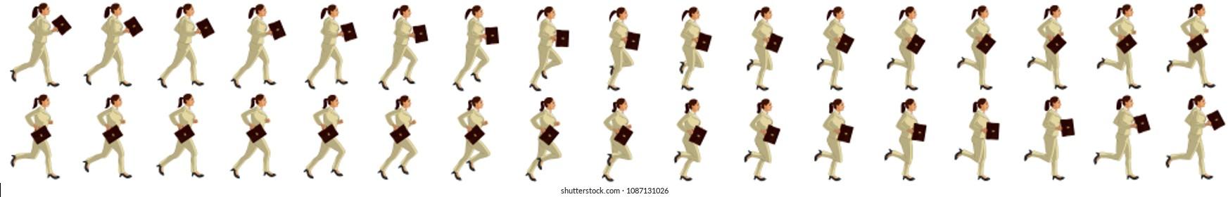 Business girl running animation sprite sheet