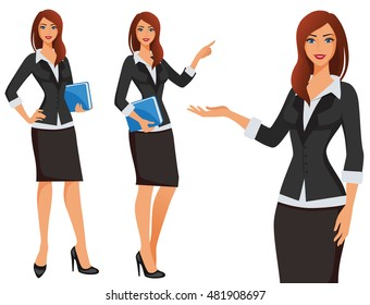 Business girl. Vector girl in business costume. Different poses of standing woman.