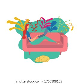 A business girl working on a laptop on a sofa. Flat illustration.