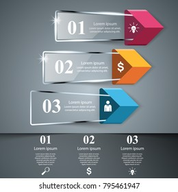 Business glass Infographics origami style Vector illustration.
