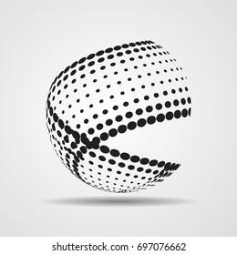 Business Globe with brush strokes. Technology Futuristic Globe.