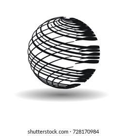 Business Globe with stripe brush strokes. Technology Futuristic Globe shape.
