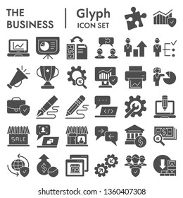 Business glyph icon set, management symbols collection, vector sketches, logo illustrations, marketing signs solid pictograms package isolated on white background, eps 10