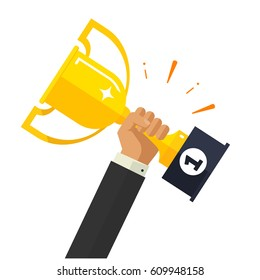 Business goal achievement vector concept, flat style happy successful businessman holding golden cup award in hand, leadership idea, first place prize victory, competition winner
