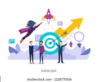 Business goals. Successes in business partnership together, implementation of start-up projects, improvement of professional skills, achievement of high goals, financial growth. Vector illustration.