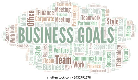 Business Goals word cloud. Collage made with text only.