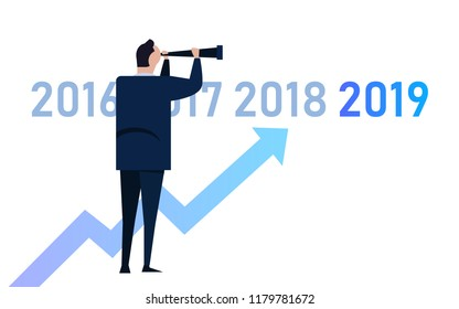 Business graph with arrow up and 2019 symbol, Success concept and growth idea vector illustration. manager leader vision looking into future compare with previous year.