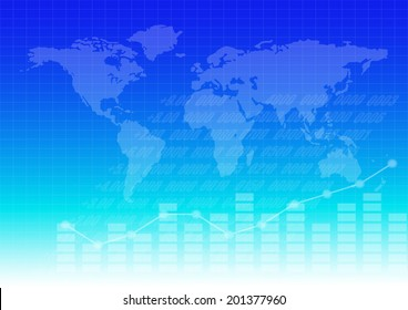 Business graph and chart with world map background