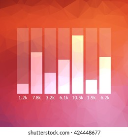 Business graph with digits. Low polygonal background. Vector illustration