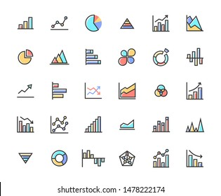 Business Graph Filled Outline Icon Set