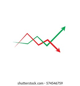 Business graph, Flat icon of graph, arrows isolated on white, Eps 10