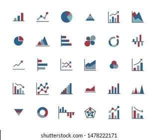 Business Graph Flat Icon Set