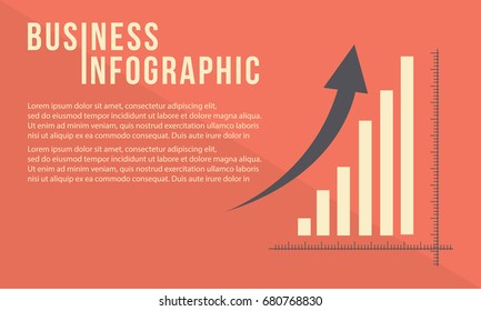 Business graph with growth arrow design