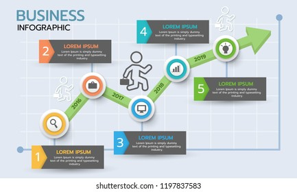 Business graph infographic. Timeline infographic template. Flat vector illustration.