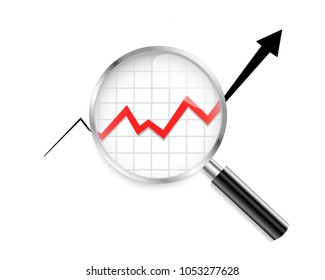 Business graph. Magnifying Glass. Analytics Elements. Vector illustration